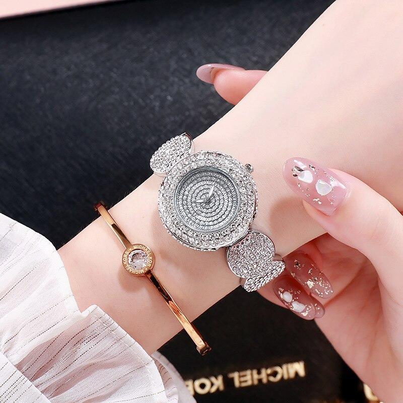Часы наручные женские со стразами, модные брендовые люксовые повседневные с браслетом