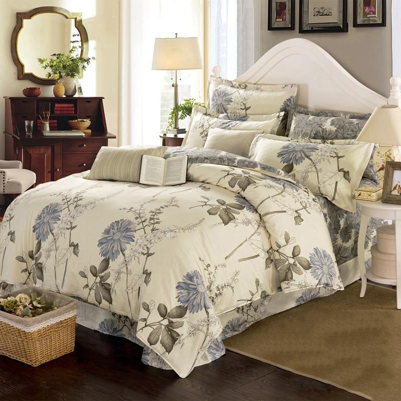 Juego de ropa de cama Floral elegante, juego de sábanas de algodón y poliéster, colcha de 3 uds con flores y dos tamaños, colcha azul