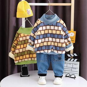 Autumn Winter fashion children boys girls clothes sets Jchao Kids Plaid style Velvet warm Sweatshirt pant baby boy clothing suit