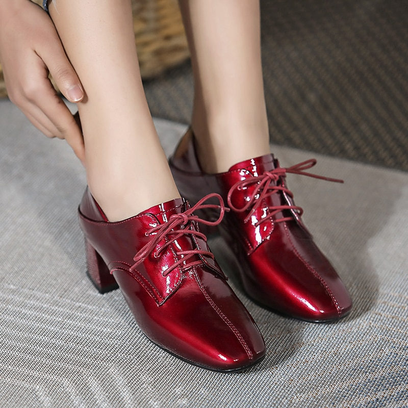Fashion Women Pumps Red Wine Patent Leather Handmade Shoes Lace-Up Two Wear Style Comfort Wild Casual Office Lady Shoes