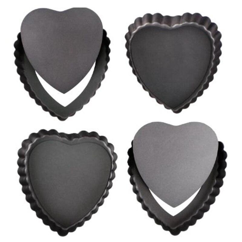 Gran oferta, 4 Uds., sartenes para pasteles, moldes para hornear con forma de corazón, molde para hornear con Fondo extraíble, molde para pasteles con forma de corazón