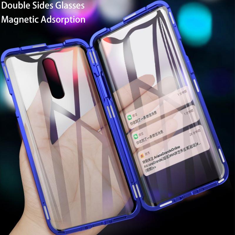 Передний + задний двухсторонний прозрачный стеклянный Магнитный чехол для OPPO Realme XT X2 X2Pro X Lite Realme 5 5 Pro Q 3 3Pro 6 Pro Чехол