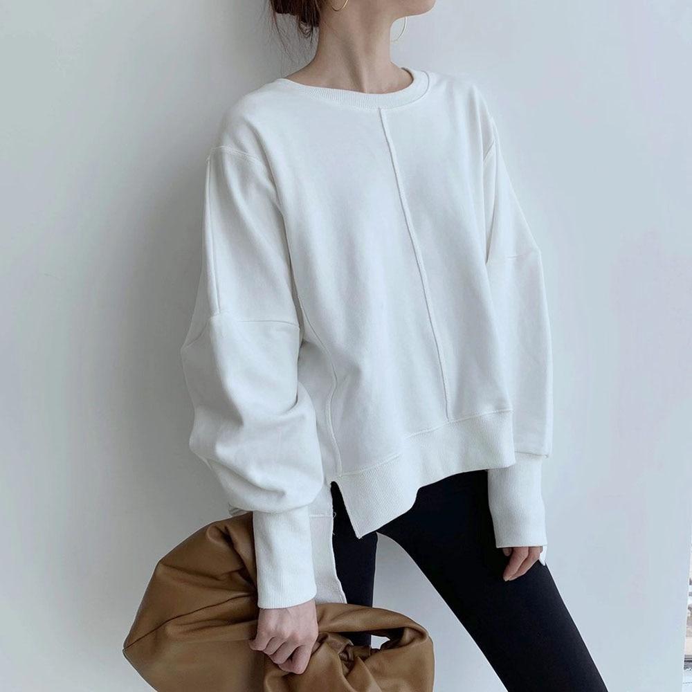Autumn Winter White Tops Korean Style Fashion Round Neck Lantern Long Sleeve Loose Casual Women Hood