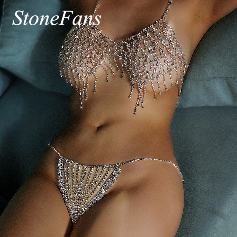 Stonefans Bikini joyería cristal ropa interior sujetador y Tanga Set para mujeres Sexy colorido strass Bralette bragas Body Chain Sets