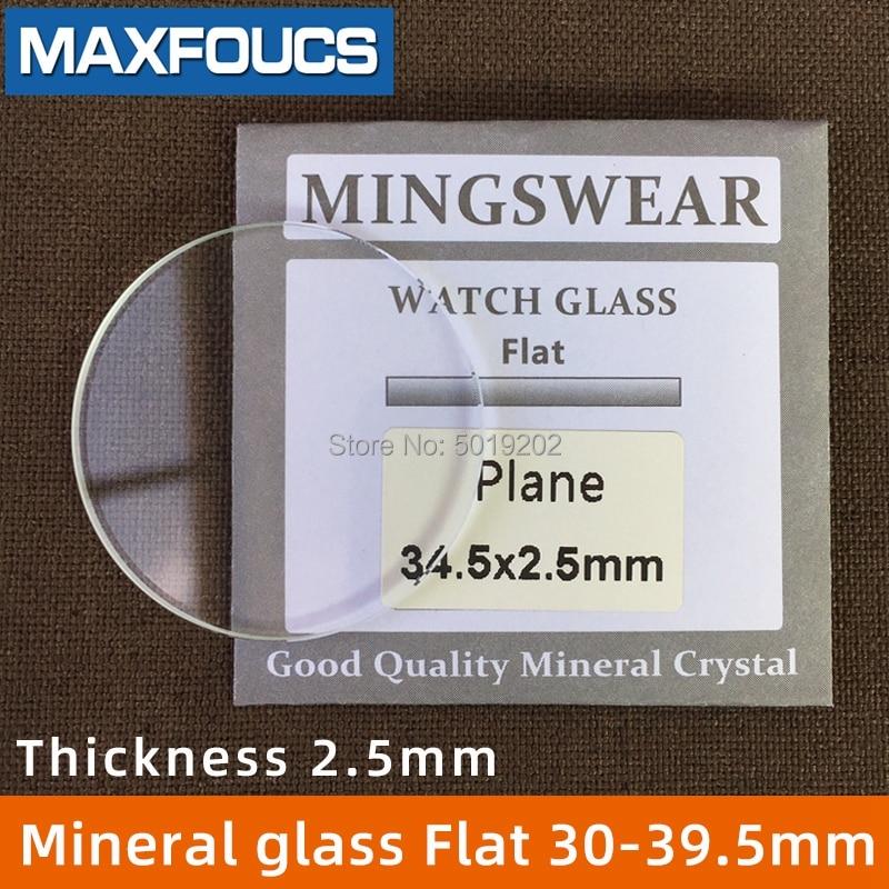 Vidro liso redondo do do relógio de 2.5mm, diâmetro mineral liso de 30mm ~ 39.5mm, acessórios das peças do relógio, 1 peça
