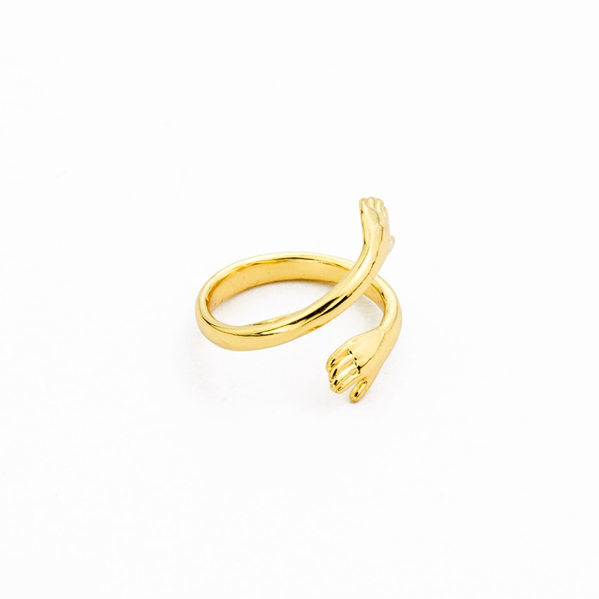 Boho ajustable doble mano abrazar Anillos Pierscionki cobre joyería Simple Rosa oro Color Midi Anillos para Mujer