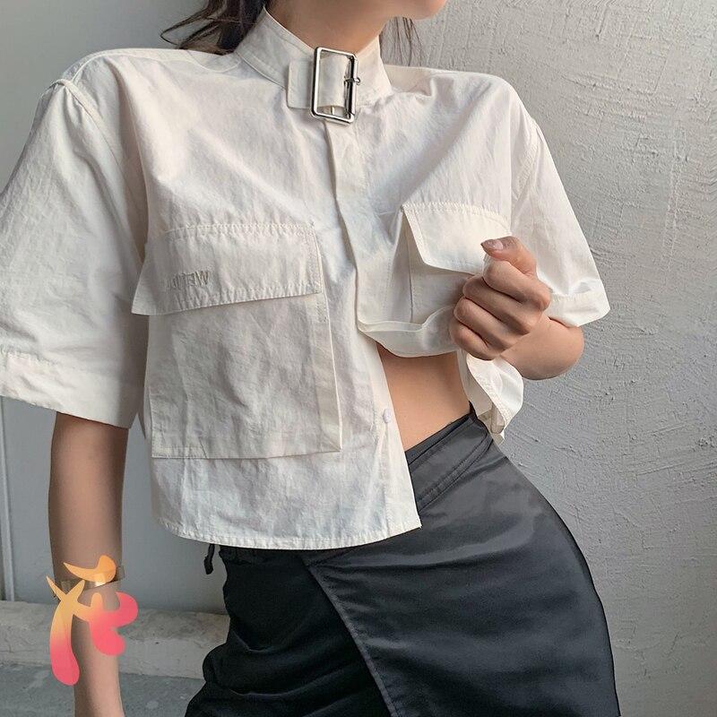 We11did القوطية نمط قميص ملابس حريمي عالية الجودة الإناث قصيرة الظلام قميص كبير الحجم ويلدون الاتجاه جيب كبير قمصان غير رسمية
