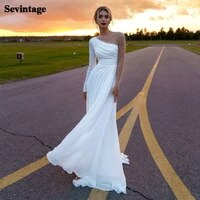 long sleeves beach wedding dresses chiffon beaded bridal gown high split custom made princess wedding party gowns 2021