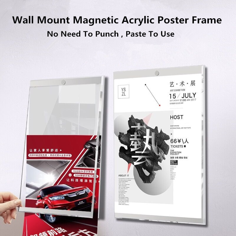1pc 5 6 7 8 inch clear acrylic photo frame magnetic picture photo poster display frame for table sign price tag label promotion A3 Clear Acrylic Wall Mount Sign Holder Label Display Frame Self-Adhesive Magnetic Photo Picture Poster Frame