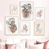 abstract woman plant lines color block scandinavia wall art canvas painting posters and prints nordic style living room decor