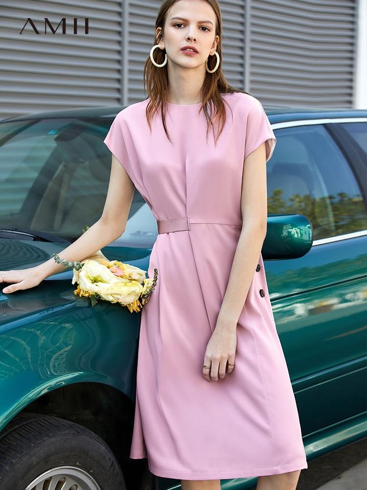 Amii fashion chic celebrity dress spring new splicing rubber rib chiffon skirt high waist knee-length dress 11960021