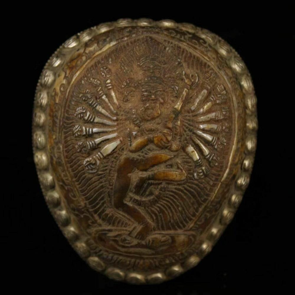 Decoración de boda, antiguo Tíbet, Tantra FaQi, hueso de incrustación de plata tallada Vajravarahi Dorje Phakmo kapala