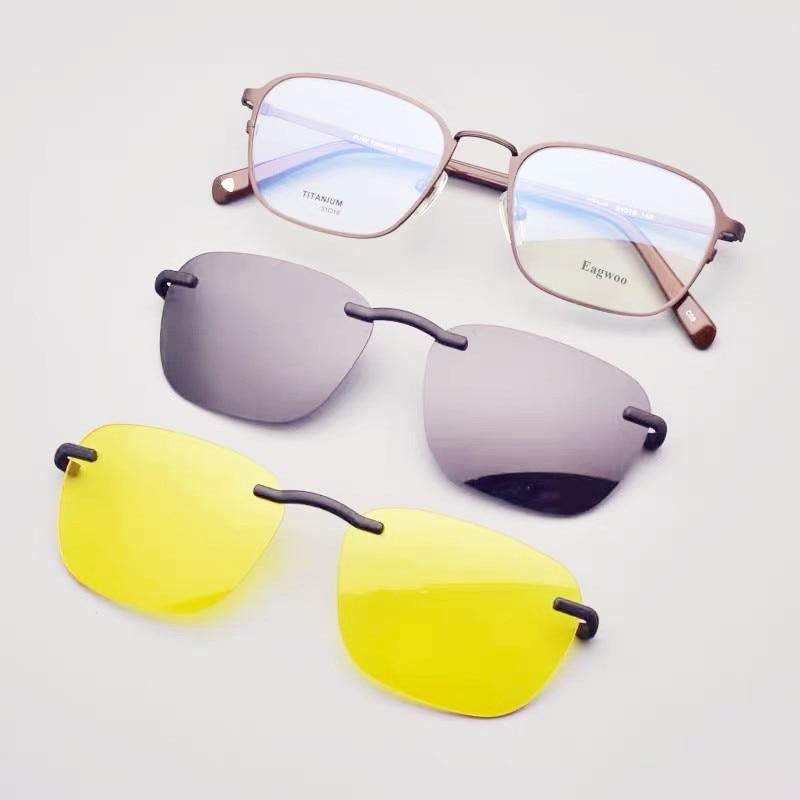 نظارات بإطار بصري مغناطيسي من التيتانيوم الخالص للرجال ، نظارات بوصفة طبية بإطار بصري بإطار كامل لقصر النظر