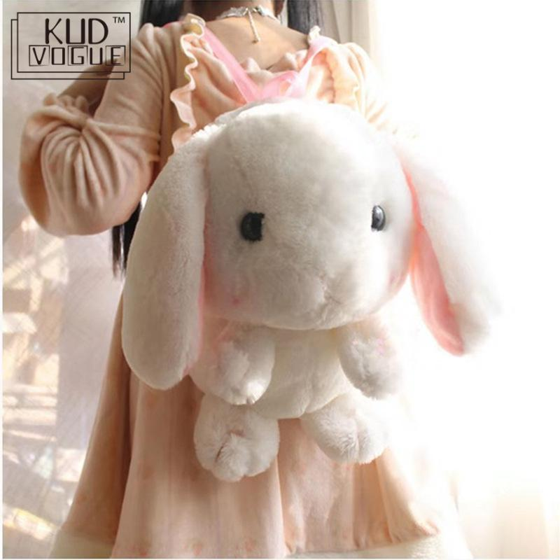 Милый плюшевый рюкзак для девочек с мультяшным Кроликом, японская сумка-мессенджер с ушастым ушаком, мягкая сумка с кроликом, плюшевая кукл...
