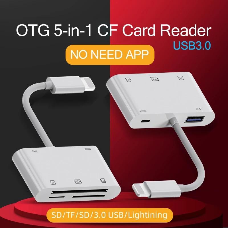 C76 Für iPhone CF XD Kartenleser 5 in 1 Blitz USB 3,0 Stecker TF SD Kamera XD Karte Adapter hohe Strom 500mA