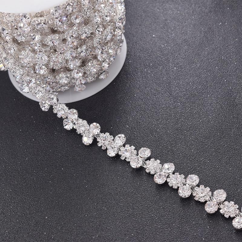 10 yardas/lote 1,6 cm ancho claro flor strass recorte para vestido de novia cinturón recortes de costura cadena plateada apliques de cosido