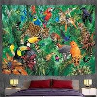Гобелен с животными стене висит тропическим принтом растения цветочным узором в богемном стиле гобелены украшения дома yoga коврик покрывал...