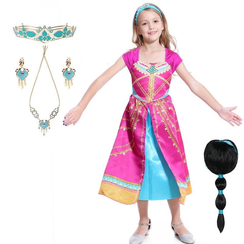Aladdin vestido de princesa jasmine, vestido fantasia rosa jamine para festa, halloween, sexy, cosplay, peruca jamine