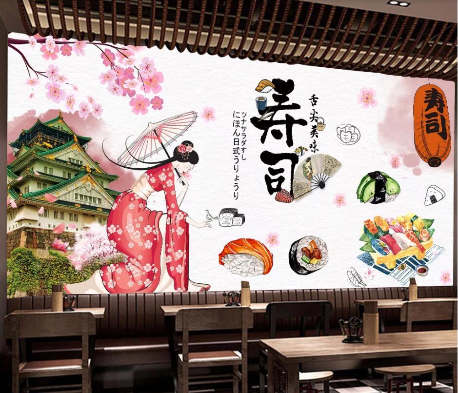 CJSIR 3d papel pintado personalizado moda Japón Tour comida Japonesa Sushi restaurante Fondo pared decoración mural de papel tapiz pared