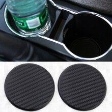 2pcs Black Carbon Fiber Look Car Water Cup Slot Non-Slip Mat Pad Interior Parts Universal Auto Acces