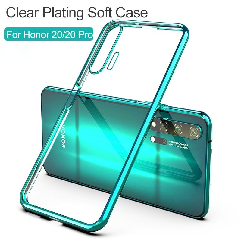 Funda de silicona transparente para Honor 20, carcasa 3D con revestimiento láser, carcasa trasera de cristal brillante de TPU suave para Huawei Honor 20 Pro, fundas de teléfono