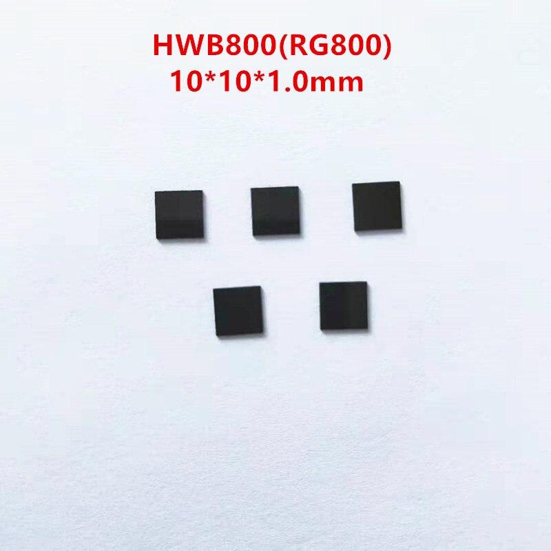 Hwb800 10*10*1.0mm rg800 800nm ir infravermelho passagem filtro de vidro preto corte claro visível