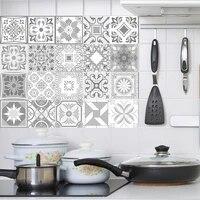 Carrelage decoratif retro marocain en PVC  decalcomanie murale de couleur grise  adhesif  dosseret de cuisine etanche  decoration de salle de bains