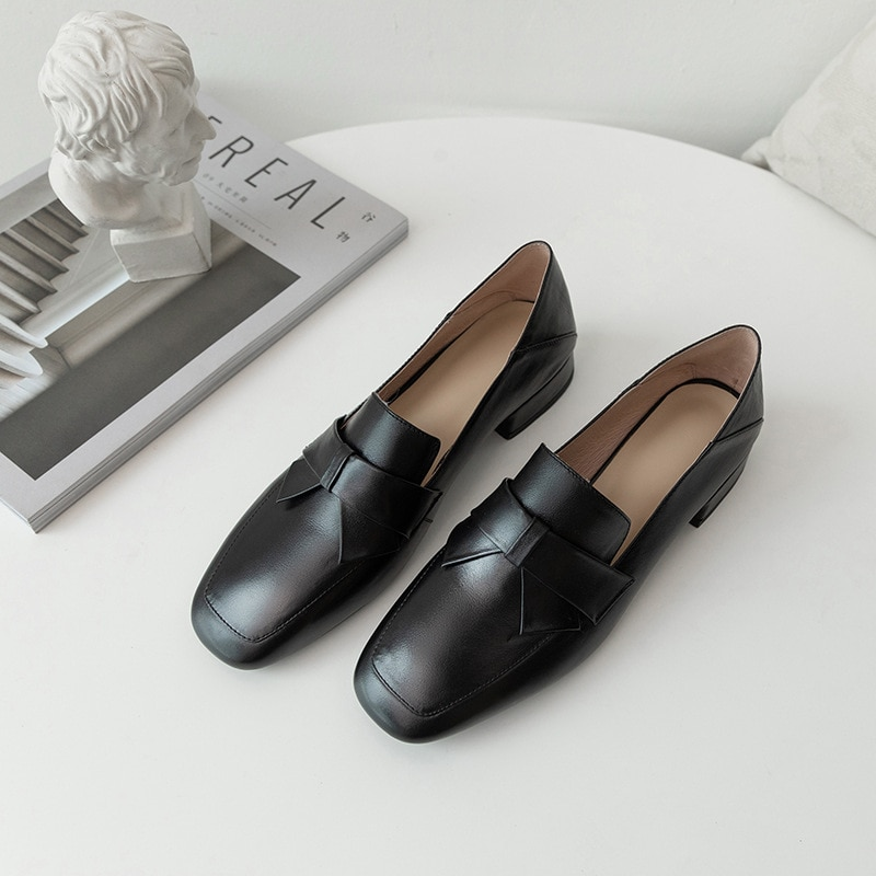 Style Square-Headed Bow Shallow Mouth Women's Single Shoes,Inside And Outside The Leather Simple Loafers,Luxury Fashion Brand