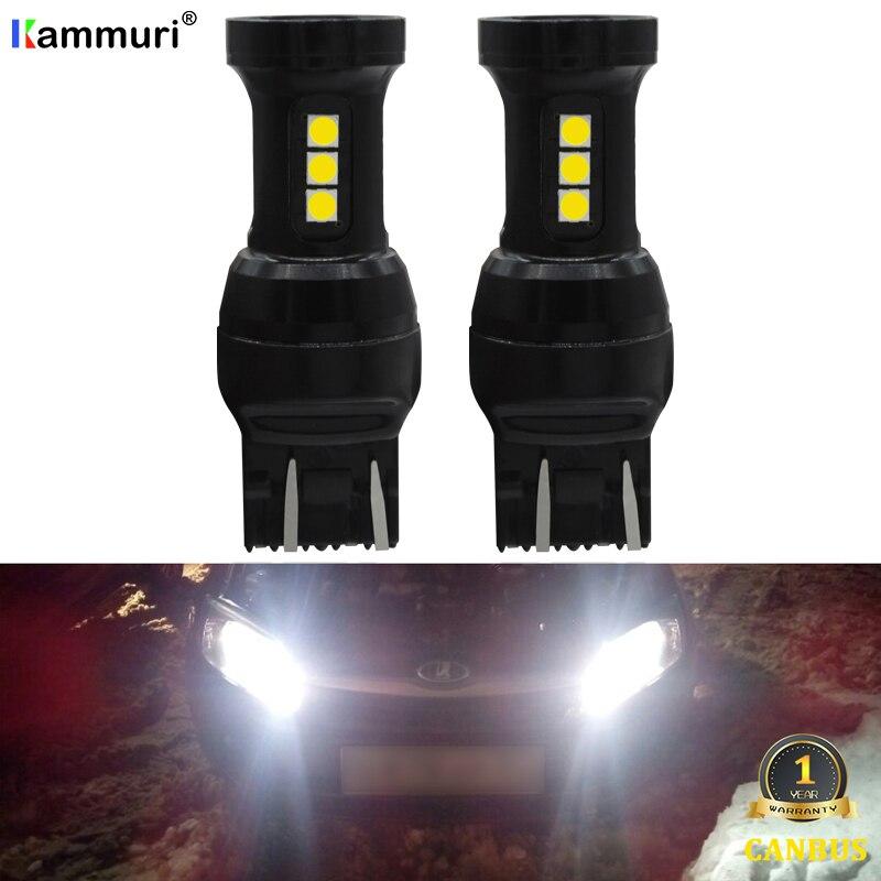 KAMMURI (2) T20 7443 7444 W21/5 W SRCK Canbus Светодиодная Лампочка для Lada Vesta Kalina Аксессуары Передние размеры дневные ходовые огни белые дхо для лада веста лампы