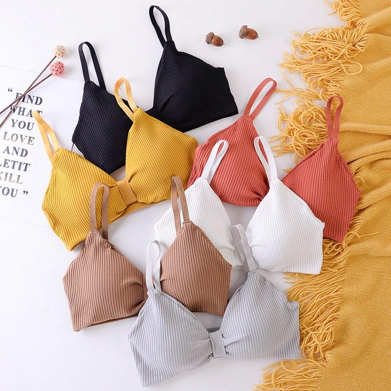 De algodón de sujetadores para mujeres Sexy V profunda taza sin acolchado Sujetador Push Up alambre libre tamaño sin espalda ropa interior de sujetadores para mujer ropa interior
