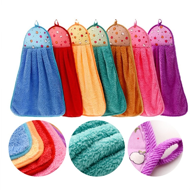 1 шт., полотенце для рук, плюшевая Подвеска для детской кухни, ванной комнаты, плотная мягкая ткань, полотенце, хлопковое, не масляное, для мытья посуды, быстросохнущее