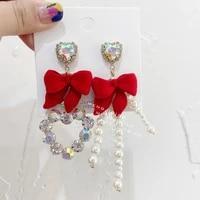 mengjiqiao korean elegant red velvet bowknot asymmetric long drop earrings for women fashion crystal heart pendientes jewelry