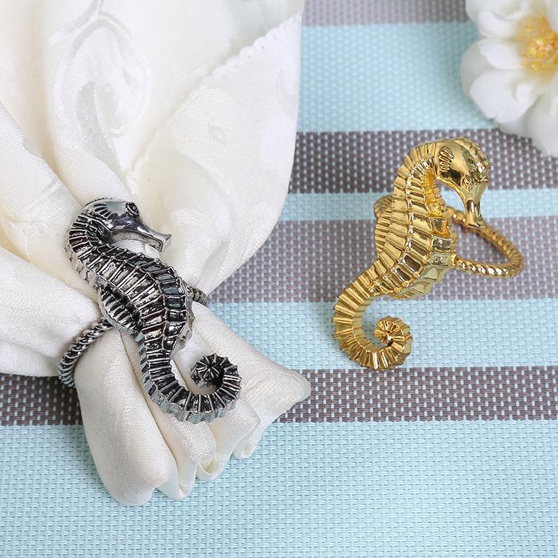10 piezas de anillos de servilletas de hipocampo de tela modelo de círculos casa Villa Mesa servilletas hebilla Decoración Accesorios Para el hogar