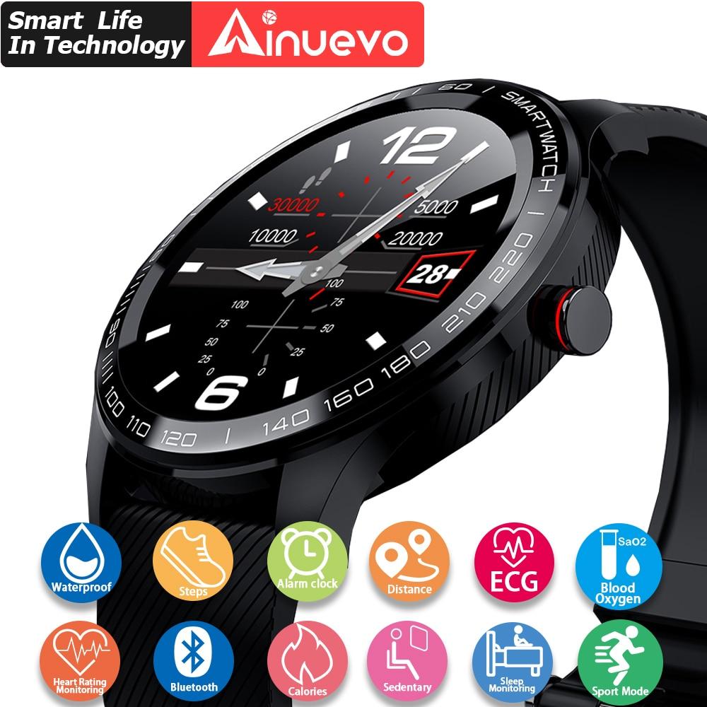 Ainuevo relógio inteligente das mulheres dos homens sprots smartwatch à prova dip68 água ip68 ecg monitor de freqüência cardíaca pressão arterial oxigênio bluetooth l7 l8 l9