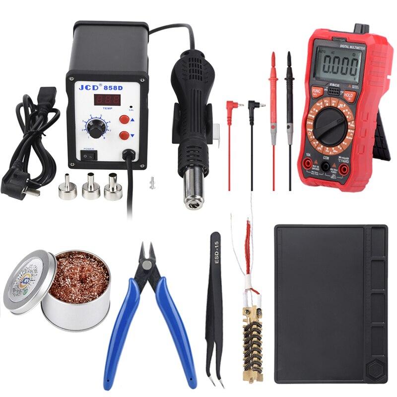 Estación de soldadura JCD, 858D kits con multímetro Digital, soldador de 700W, pistola de aire caliente de soldadura de temperatura ajustable de 220V
