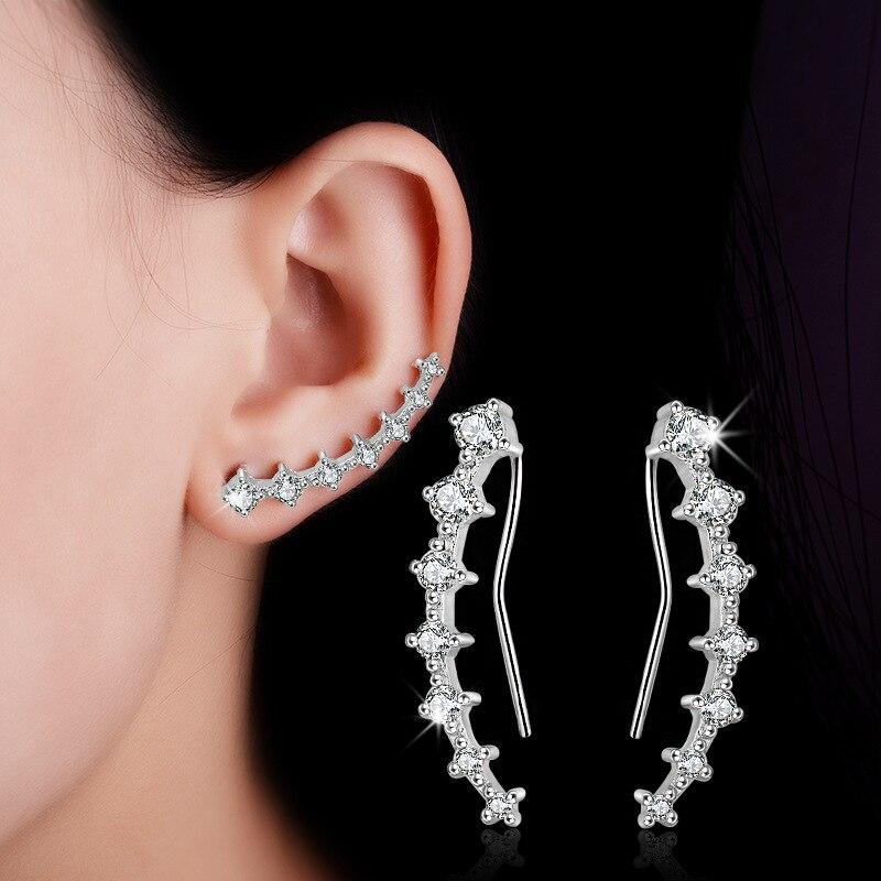 Pendientes de tuerca de moda de siete estrellas CZ para mujer, joyería de cuatro puntas de Dipper grande a la moda, accesorio de oreja de Color bellamente plateado