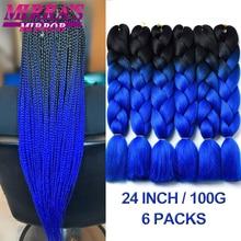 Extensiones de Cabello sintético Jumbo para mujer, postizo con textura Yaki, color negro y azul, Mirra's Mirra