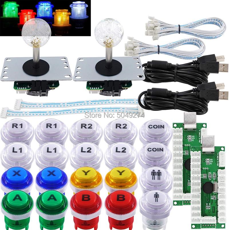 مجموعة أركيد جديدة لتقوم بها بنفسك ، عصا تحكم أركيد مع 5 دبابيس ، عصا تحكم sanwa 20 قطعة LED 30 مللي متر زر عملة 1P 2P USB بدون تأخير التشفير