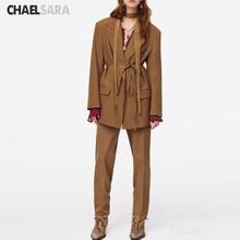 2020 primavera otoño Vintage con cinturón conjunto de dos piezas mujer Oficina Blazer chaqueta abrigo + cremallera pantalones traje pantalones sueltos trajes Mujer