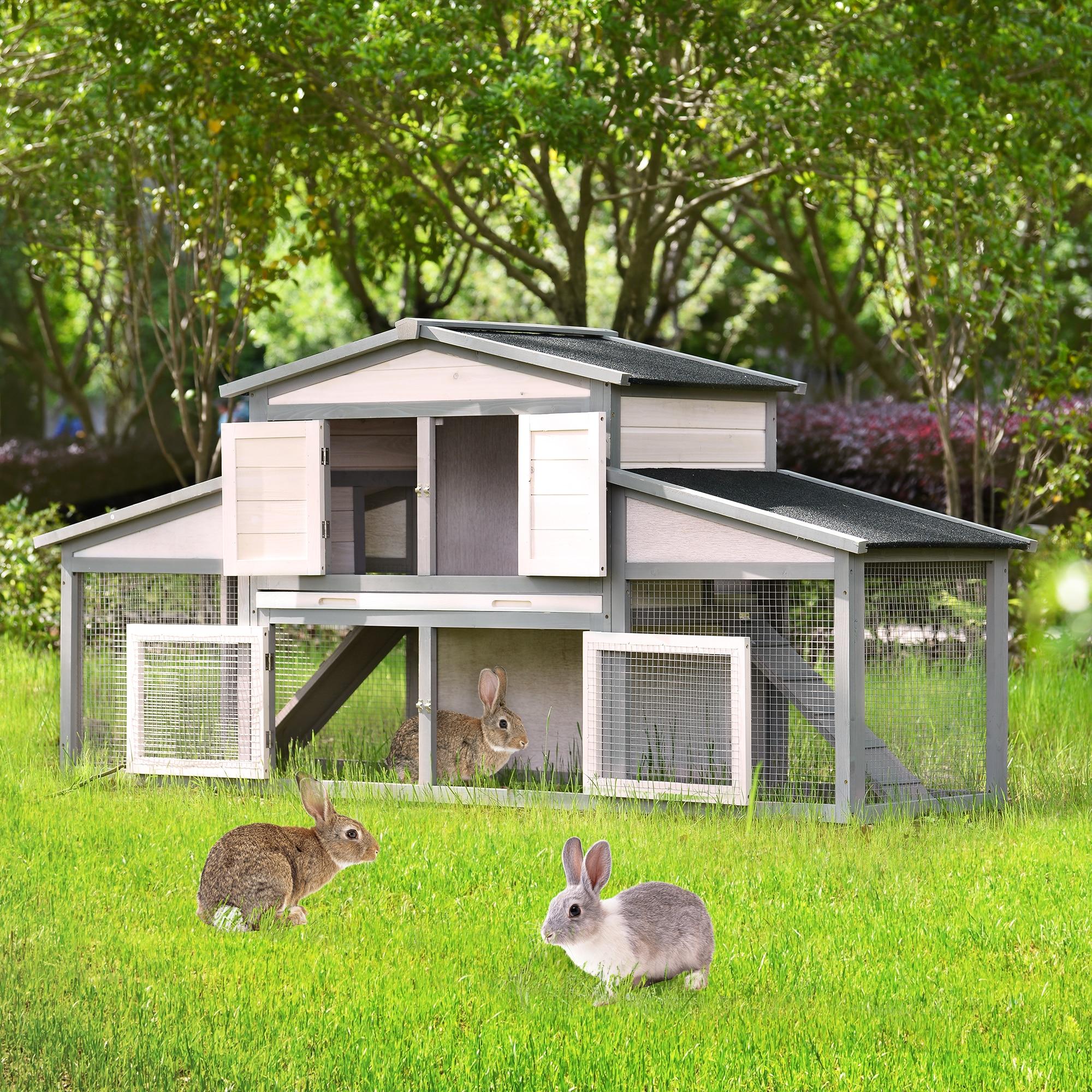 88x28x43In ترقية خشبي كبير قفص الدجاج قفص أرانب قفص الحيوانات الأليفة منازل للحيوانات الأليفة الصغيرة ث/صينية و 2 سلالم رمادي أبيض [US-Stock]
