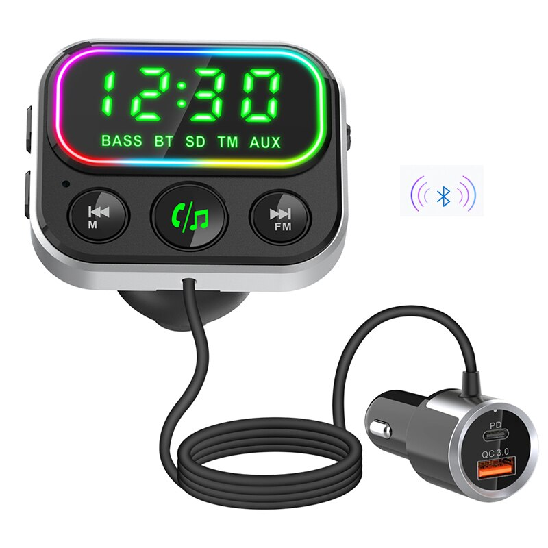 Car MP3 music player Bluetooth receiver FM transmitter time display mobile phone charger PD18W fast charge Bluetooth 5.0 Car Kit