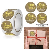 500pcs 2 5cm gold foil thank you round labels sticker for small shop packaging kraft paper sealing label decoration