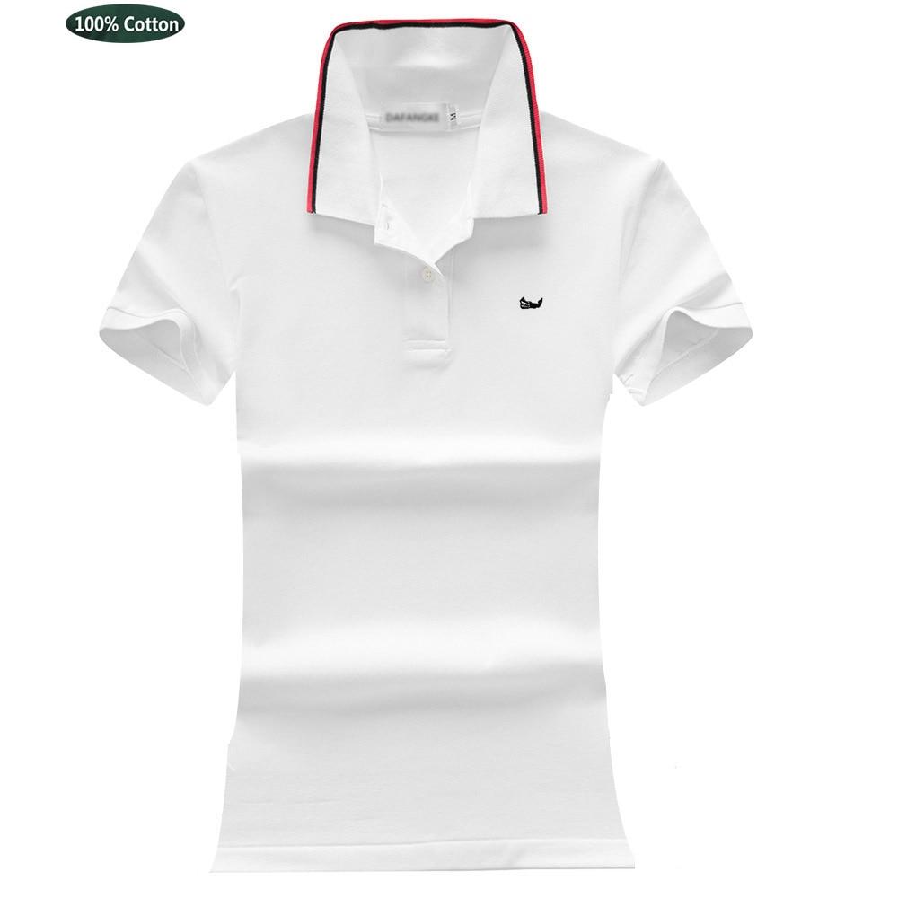 أفضل النسيج المرأة 100% القطن الصيف قميص بولو قصيرة الأكمام الكلاسيكية التلبيب التطريز شعار بلايز تيز عادية أنثى قميص بولو