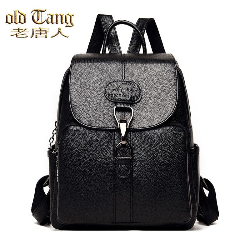 OLD TANG Fashion Casual Solid Color High Quality Pu Leather Backpack for Women 2021 New Ladies Trave