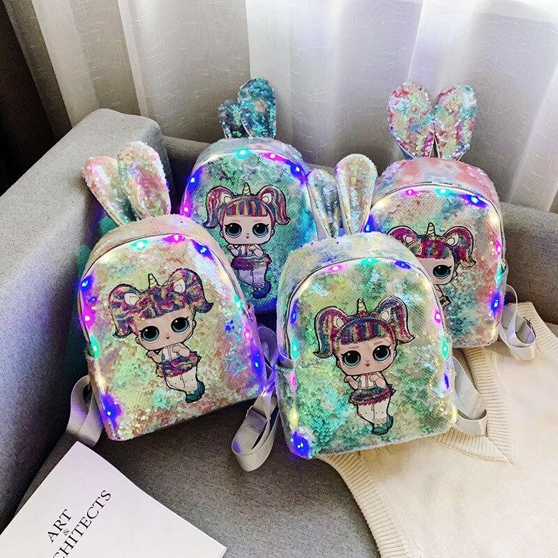 Sac à dos à paillettes pour fille   lol, poupée surprise, oreilles de lapin, sac brillant pour étudiant, petite poupée surprise mignonne