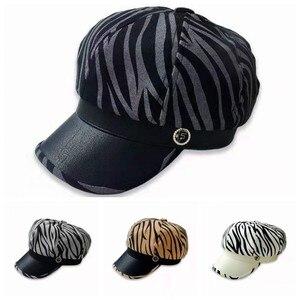New Autumn Octagonal Hat Cow Print Beret Female Winter Hats for Women Fitting Women's cap