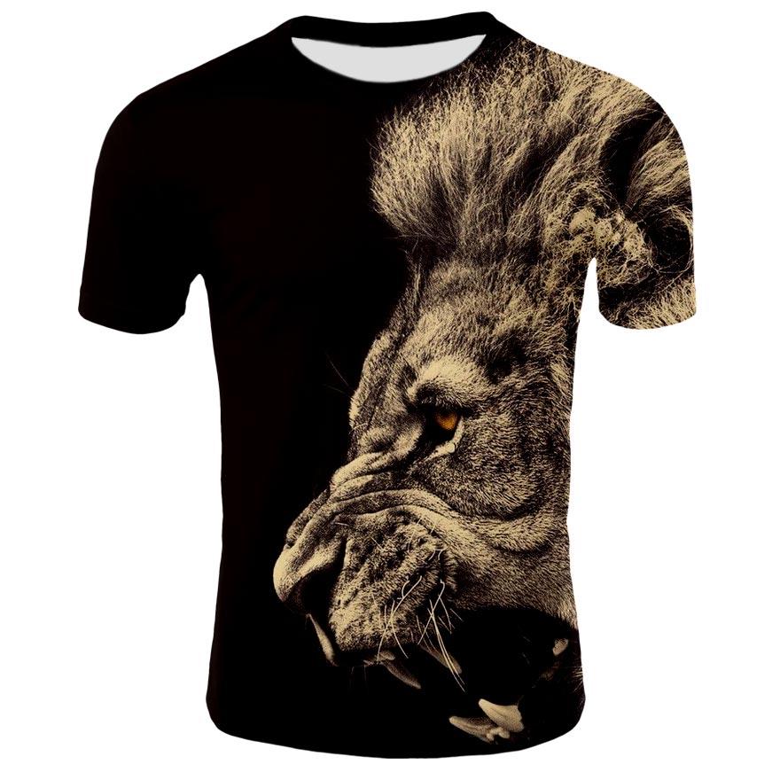 Summer 2021 3D printed men's T-shirt O-neck short sleeve 3D printed animal lion 3D printed T-shirt men's T-shirt for men and wom printed t shirt neonato blumarine printed t shirt