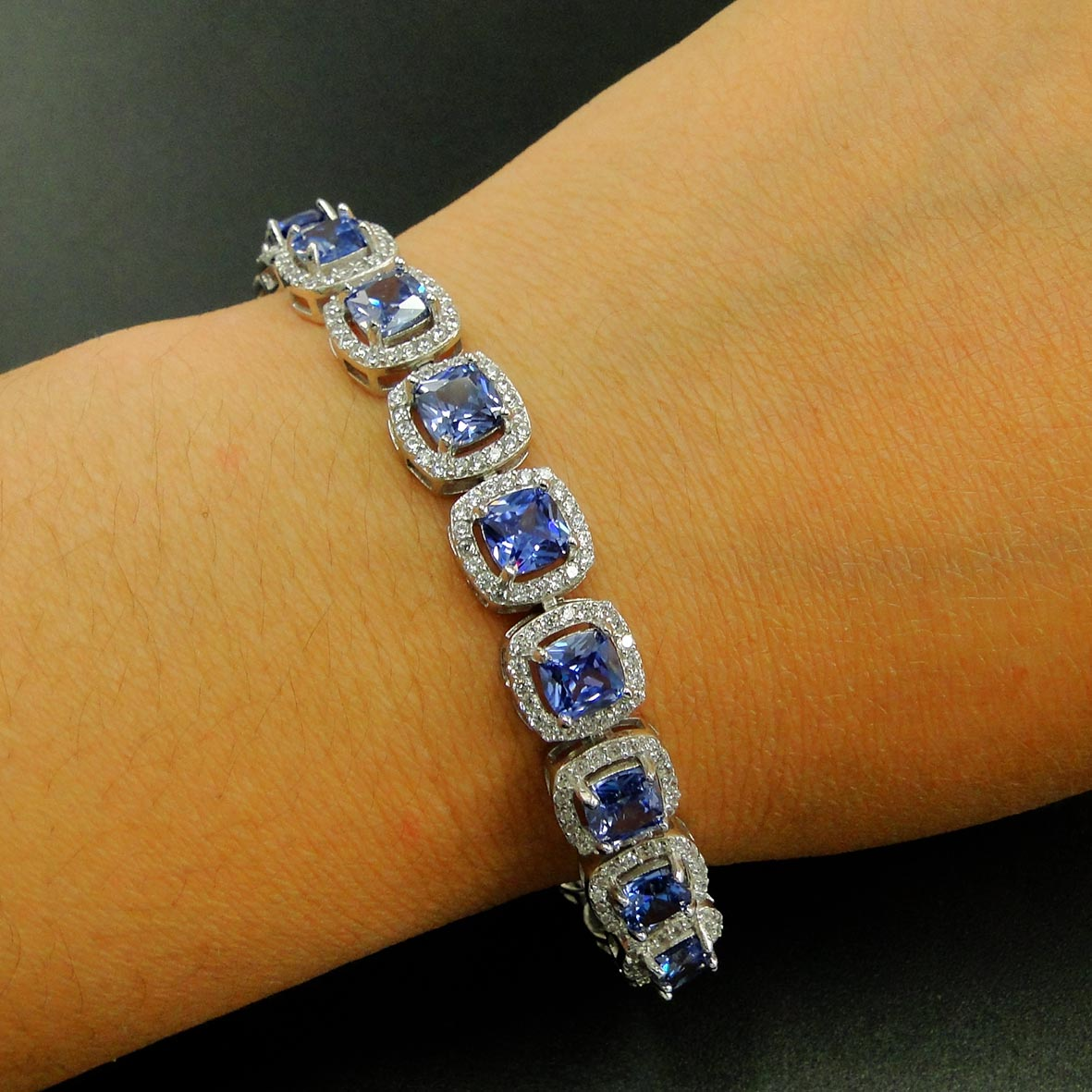 Review High Quality 100% Real 925 Sterling Silver Bracelet Tanzanite CZ Bracelets for Women Engagement Wedding Jewelry Gift