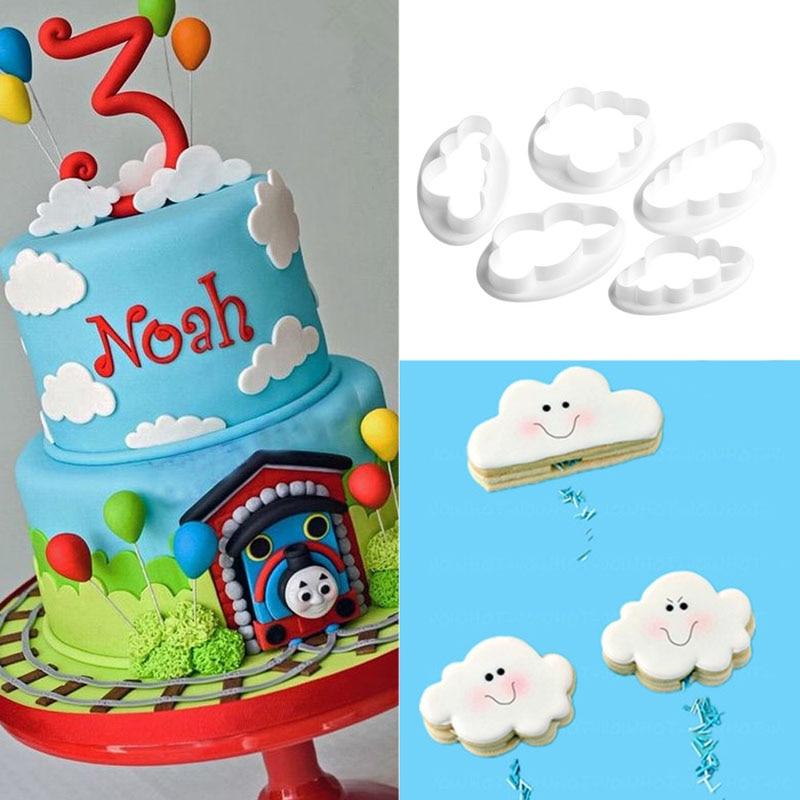5 pièces 3D nuage en plastique Fondant Cutter gâteau moule Sugarcraft moule décoration outils Vintage Plaque cadre emporte-pièce ensemble