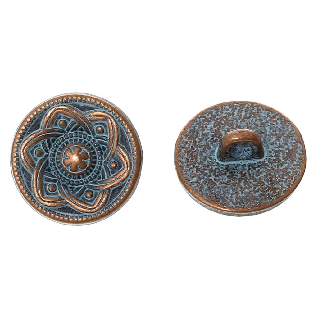 DoreenBeads Botón de vástago de Metal redondo de cobre antiguo Spray PINTADO DE AZUL patrón de flor de un solo agujero 15,0mm de diámetro, 50 Uds